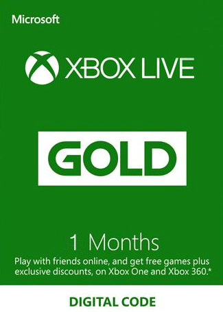 Xbox Live 1 Month Gold Membership Card Global