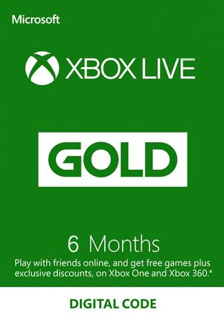 Xbox Live 6 Months Gold Membership Card Global